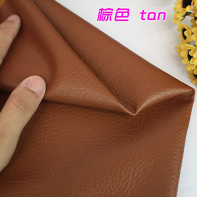 """Tan Big Lychee Pattern PU leather Faux Leather Fabric Upholstery Leather 54"""" BTY"""