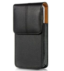 brand new 64305 fc207 Details about iPhone X / XS - VERTICAL BLACK Leather Pouch Holder Belt Clip  Loop Holster Case