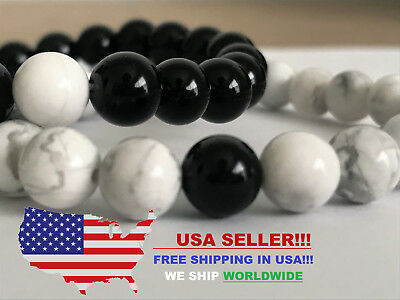 Responsible 100% Stone Long Distance Bracelets Lovers Couple Black Onyx White Turquoise 2pcs Strengthening Sinews And Bones Crafts Other Beads & Jewelry Making