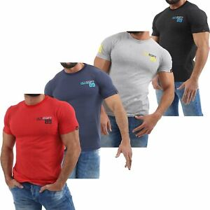 Mens-HLY-Branded-Printed-T-Shirt-100-Cotton-Top-Tee-Gym-Athletic-Crew-Neck