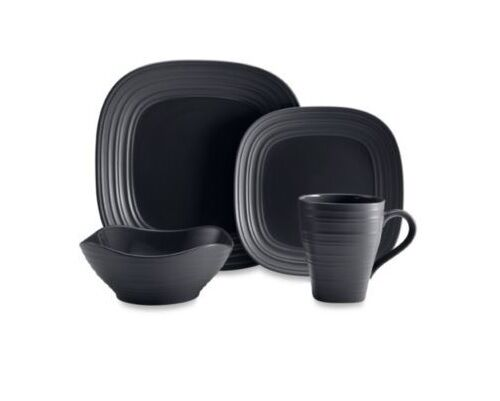 sc 1 st  eBay & Mikasa 4 PC Dinnerware Set Swirl Square Black 5056905 T1 | eBay