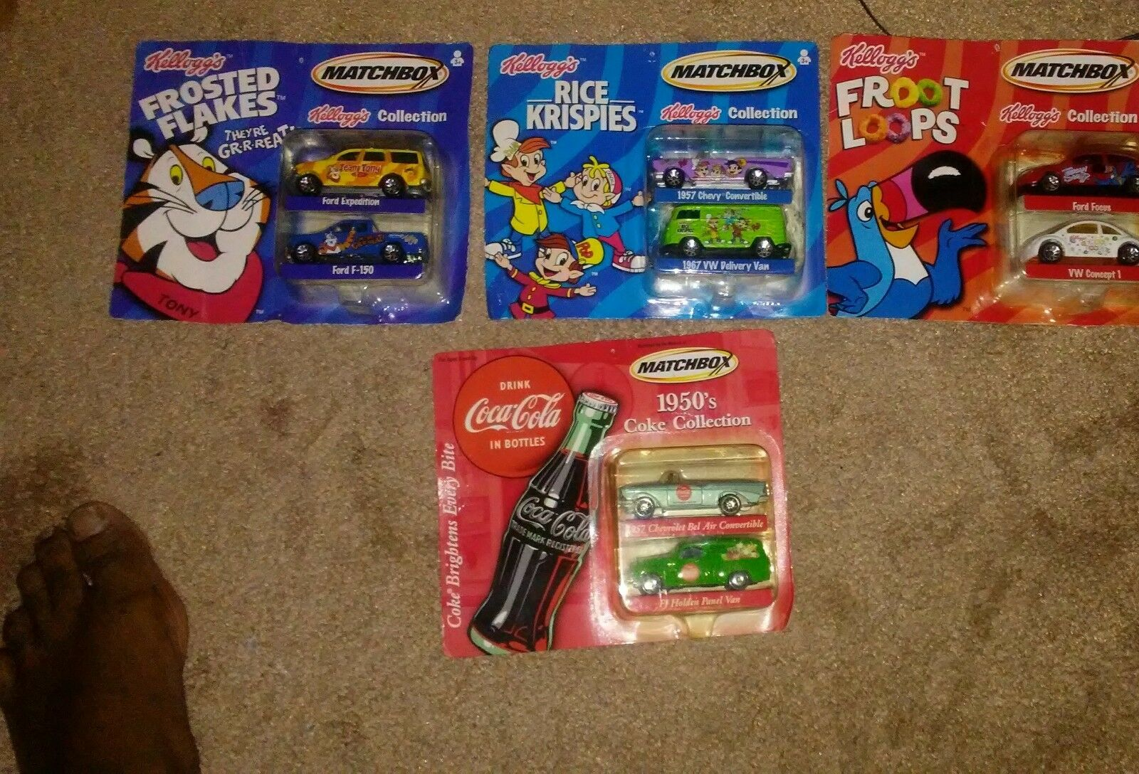 MATCHBOX KELLOGG'S COLLECTION  FROOT LOOOPS FROSTED FLAKES RICE KRISPIES, COKE