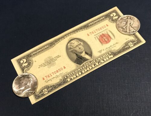 1953 $2.00 Legal Tender /& SILVER Walking Liberty /& Kennedy Half OLD COINS!!