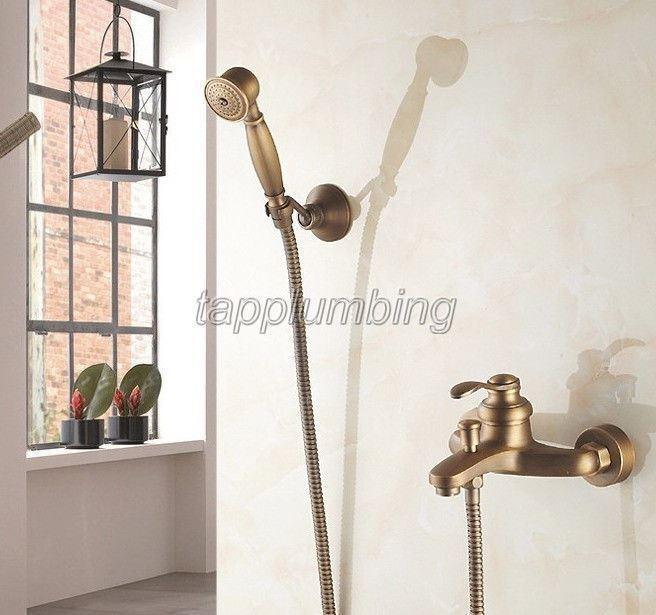 Salle de Bain Handheld douche baignoire robinet mural finition laiton vieilli ttf303