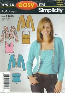 Simplicity 4545 Misses/' Knit Tops 6 to 16  *Rare*   Sewing Pattern