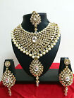 Indian Bollywood Diamante Kundan Pearl Gold Tone Necklace Fashion Jewellery Set