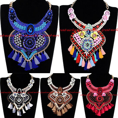Fashion Gold Chain Resin Crystal Rope Tassel Charm Choker Statement Bib Necklace