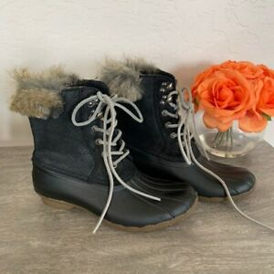 Sperry-Top-Sider-Womens-Duck-Boots-Black-Leather-STS93845-Waterproof-Fur-7-5