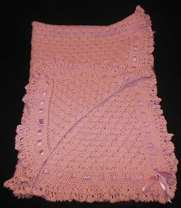 Handmade Crochet Pink Baby Girl Blanket Shell Afghan Ribbon Ruffled Edge 29x36