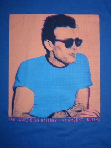 JAMES DEAN GALLERY T-SHIRT Blue with POP ART Image FAIRMOUNT INDIANA