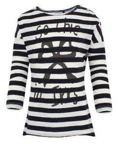 Luxury IKKS navy & white stripe tee top shirt girls 4y 5y 6y 8y 10y 12y 14y