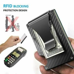 Front-Pocket-Mens-Wallet-RFID-Blocking-Carbon-Fiber-Minimalist-Slim-Money-Clip