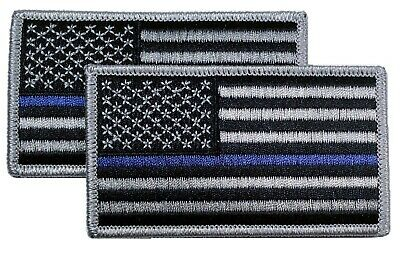 """American Flag BLUE LIVES MATTER POLICE Embroidered Patch 3.5x2/"""" Pair 2"""
