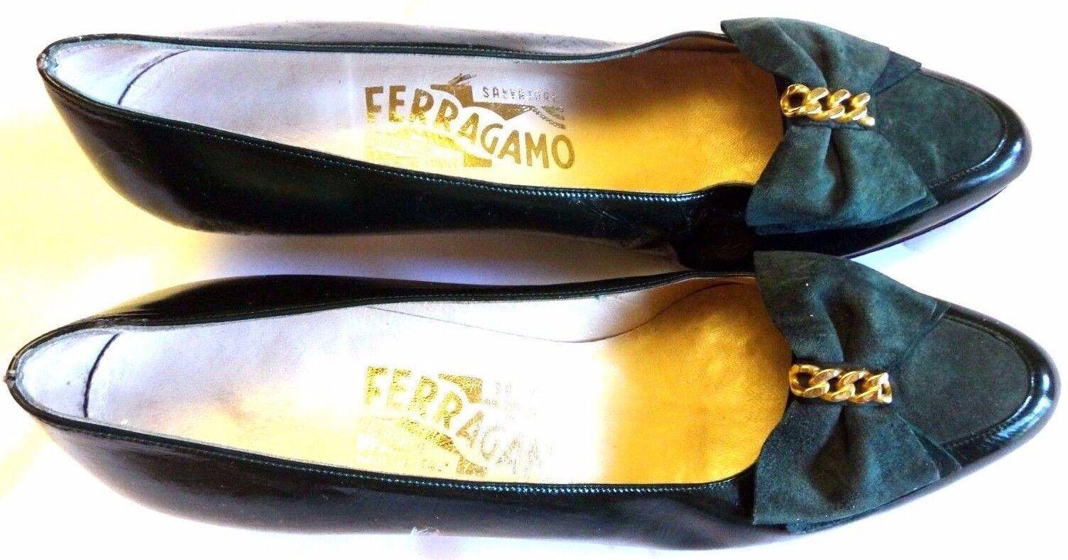 Raro  Salvatore Ferragamo arco verde verde verde con talón italiano detallada de oro talla 7 AAAA  tienda de descuento