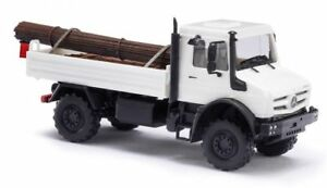 Busch-51011-1-87-h0-Mercedes-Unimog-u5023-con-carga-de-acero-blanco-nuevo