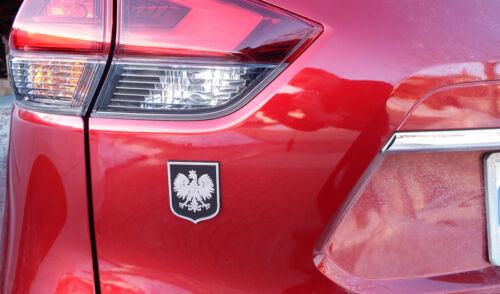 Poland Polska Eagle Black with Chrome Eagle plastic car emblem decal crest PBC