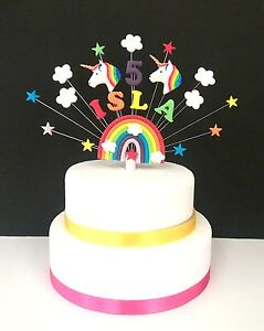 Image Is Loading Rainbow Star And Unicorn Personalised Birthday Or Christening