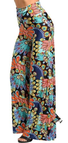 Black Multi Peacock Foldover High Double Waist//Wide Leg Long Pants//Palazzo