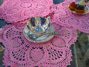 "6pc 15"" RD Hand Crochet Doilies Placemats  Pink ,% Cotton, VTG Wedding Tea Party"