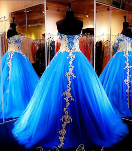 0023275f622 Blue and Gold Prom Dress Ball Gown Quinceanera dress Evening Formal ...
