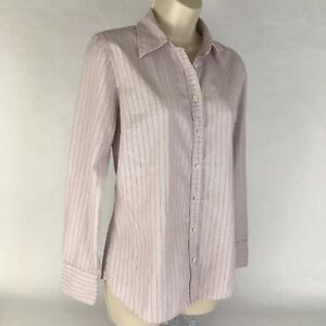 J-Crew-Womens-Blouse-Long-Sleeves-Button-Up-Career-Top-Striped-Pink-Blue-Medium