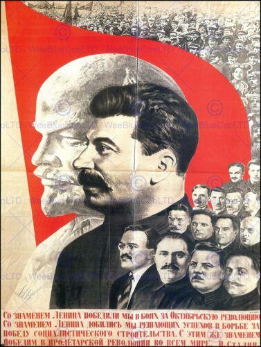 POLITICAL COMMUNISM STALIN LENIN SOVIET UNION VINTAGE ADVERTISING POSTER 1836PY