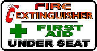 5 X QTY 120 X 65 MM FIRST AID /& FIRE EXT UNDER SEAT STICKER TAXI PRINTED STICKER