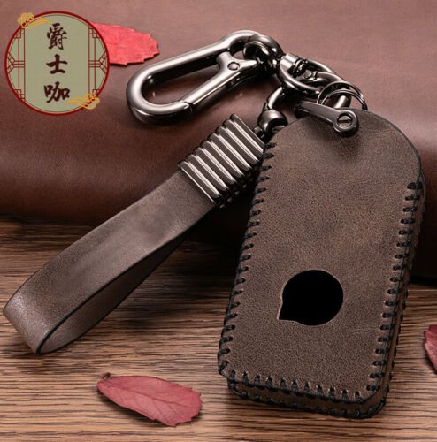 New Leather Remote Smart Key Fob Case Cover With Key Chain For Volvo