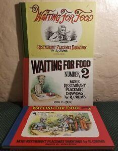 Waiting-For-Food-Number-1-2-3-More-Placemat-Drawings-Robert-Crumb-Book-lot-Art