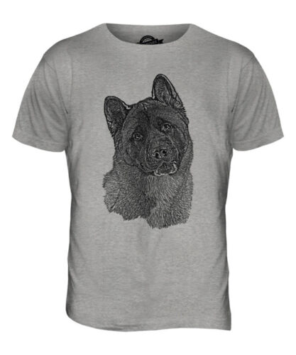 AMERICAN AKITA SKETCH MENS PRINTED T-SHIRT TOP GREAT GIFT FOR DOG LOVER SPITZ