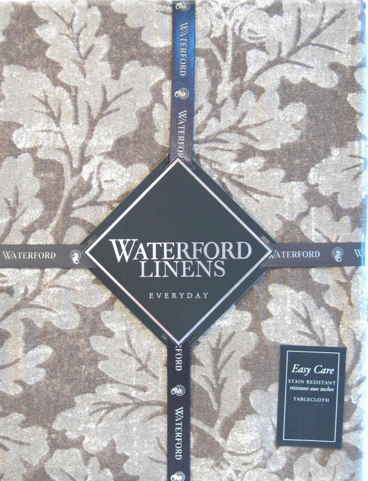 Waterford Entretien Facile résistant aux taches Nappe feuilles de chêne marron taupe 60 x 126 NEUF