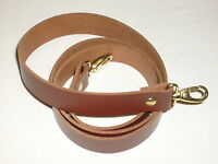 """1"""" MEDIUM BROWN LEATHER SHOULDER BAG REPLACEMENT STRAP GOLD FITTINGS"""