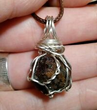 "Wonderful Natural 1.1"" RED GROSSULAR GARNET Silver Wire Wrapped Pendant Necklace"
