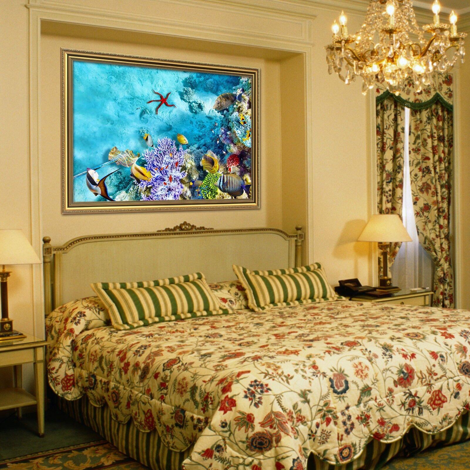 3d corail étoile de mer 53 Encadré Poster à la maison décor imprimer peinture art AJ de