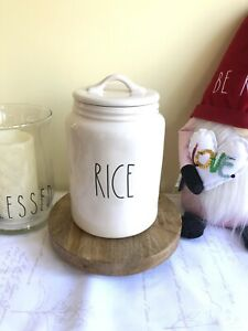 New Rae Dunn RICE Ivory Canister Large Letter LL By Magenta Artisan Collection