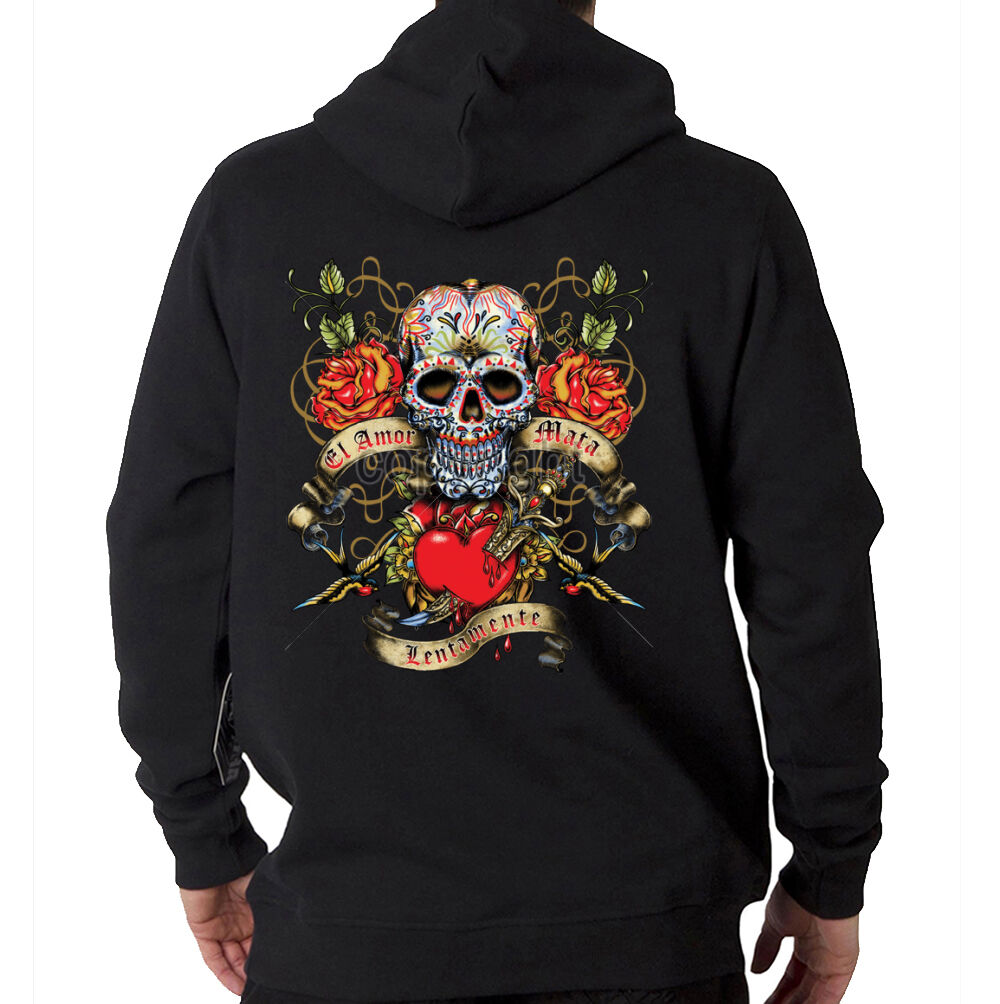 509e04daaa El Amor Sugar Skull Day Of Dead Tattoo Style Design Hooded Sweatshirt Hoodie