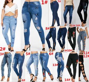 cd4d4011850 L-5XL Plus Size Women s Stretch Skinny Denim Jeans Slim Jeggings ...