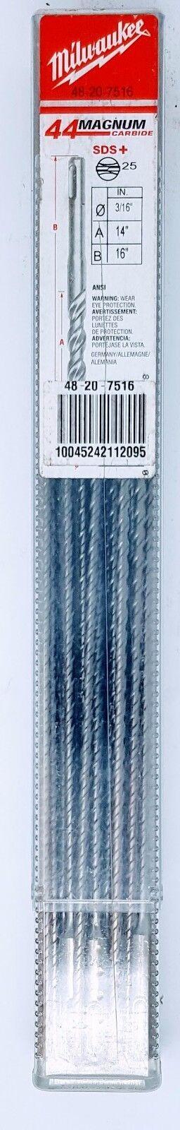 (25PK) MILWAUKEE 48-20-7516 48-20-7416 2-Cutter 3 16 x14 x16  SDS+ Carbide Bits