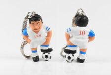 Fußball USM Werbefigur == Trikot + Hose weiß Maskottchen Figur Schlüsselanhänger