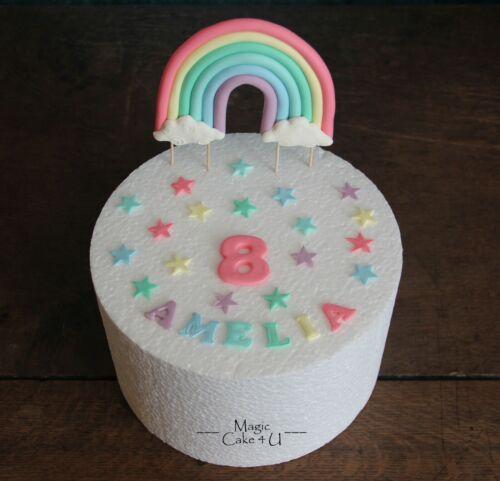 nom âge Handmade comestible pastel Arc-en-ciel étoiles ou fleurs cake topper