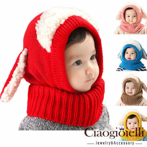 Baby Toddler Girl Boy Winter Beanie Warm Hat Hooded Scarf Earflap Knitted Cap GW