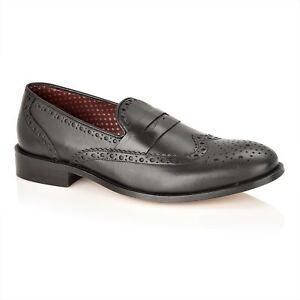 Slip Carson On Leather Mocassins London Brogues Noir Homme w1Bxqna