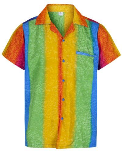 Uomo Arcobaleno Camicia Hawaiana Manica Corta Cervo Spiaggia Vacanza