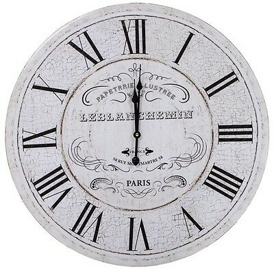 LARGE Distressed Antique White Chunky Wood NEW Wall Clock Roman Numerals PARIS