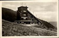 Oberwiesenthal  Erzgebirge DDR Postkarte 1959 Partie an der Jugendherberge Wald