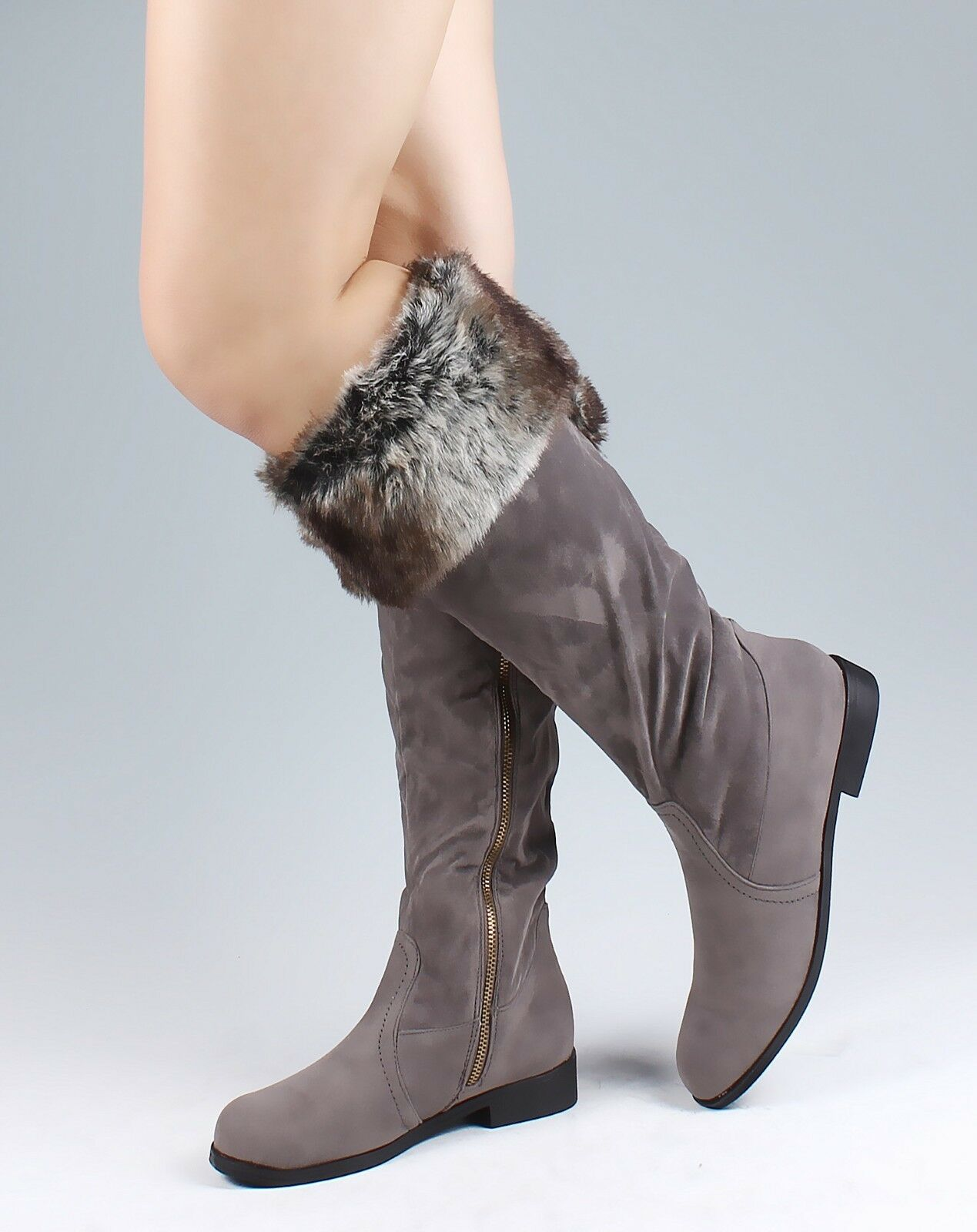 Gray Color Zip Open Faux Suede Fur Womens Knee High Boots Shoes US Size 5.5
