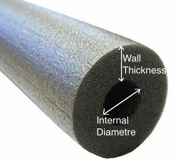 2 x 1mtr Insulation Tubing 13mm ID X 13mm Wall for Padding and Insulation