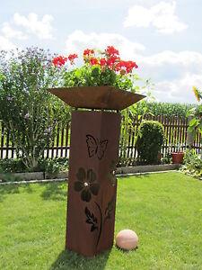 4Eck-Saeule-Rost-Blume-Edelrost-Metall-Gartendeko-Stele-Rost-Deko-Edelstahl-Kugel