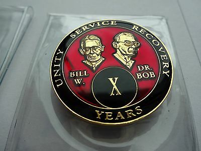 AA Bill/&Bob Blue 10 Year Coin Tri-Plate Alcoholics Anonymous Medallion Display