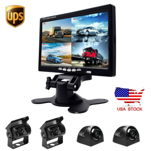 "4x Front Side Backup Rear View Camera For RV Truck Bus HD 7/"" Quad Split Monitor"